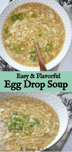 Gluten free Egg Drop Soup is super easy to make and perfect for a cozy day inside. Simple ingredients and one little trick creates silky eggs in a flavorful broth. – A Stray Kitchen #glutenfree #soup #eggdrop #easyrecipe #fromscratch Healthy Gluten Free Recipes, Gluten Free Sweets, Foods With Gluten, Easy Dinner Recipes, Easy Meals, Gluten Free Soy Sauce, Egg Drop Soup, How To Eat Paleo, Kitchen Recipes