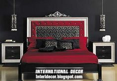 luxury bed tradition design with silver headboard frame and bedside tables