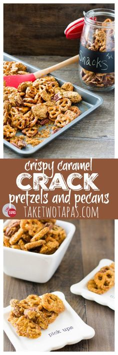 Step up your snack game with pretzels and pecans covered in a crispy caramel coating that is addicting! You will be asked back when you bring these crack pretzels as a hostess gift for sure! Crispy Caramel Crack Pretzels Recipe | Take Two Tapas #AD #BigLotsHoliday /biglots/