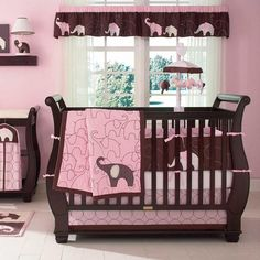 Pink Elephant 4 Piece Baby Crib Bedding Set by Carters Image - carc203bed - Type 1