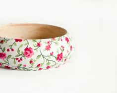 Shabby Chic Bracelet Wood Bangle Romantic by BeauMiracleJewelry, $19.00