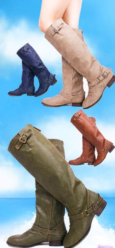 These boots are the perfect finish for any casual winter outfit! They feature faux leather exterior, soft polyester interior, ankle and upper calf buckle detailing, flat rubber sole. #fashion #boots #womenboots #womenshoes #fashonstyle #welovefashion #worldoffashion #suedeshoes #cuteboots #shoes #sexygirls #sexywomen #welovefashion #fashionworld #worldoffashion #wanderable #fashionstyle