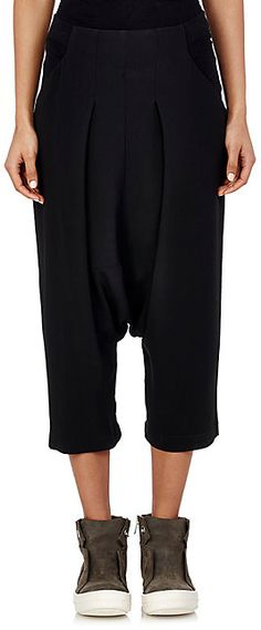 Rick Owens Pleated Drop-Rise Trousers - Cropped - Barneys.com
