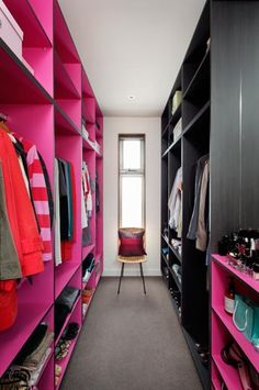 Jan's wardrobe -  Elsternwick, Victoria » Modscape  the walk in robe, mine is the pink side, can you guess?