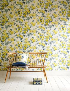 wallpaper Love - design by Ferm Living yellow floral wallpaper Metallic Ikat wallpaper - possibly a little too much but you could do it just. Botanical Wallpaper, Wall Wallpaper, Pattern Wallpaper, Bright Wallpaper, Flowery Wallpaper, Happy Wallpaper, Matching Wallpaper, Amazing Wallpaper, Interior Decorating