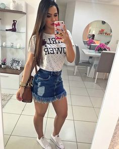 E saia jeans looks com shortinho jeans, look saia jeans, look com saia, rou Fall Outfits, Summer Outfits, Casual Outfits, Cute Outfits, Casual Dresses, Summer Dresses, Jean Skirt Outfits, Kohls Dresses, Amazon Dresses