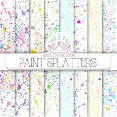 "Paint Digital Paper: ""PAINT SPLATTERS"" with watercolor hand painted splatters background, paint splashes, digital download for cards #watercolor #texture #summerdigitalkit #partysupplies #planner #digitalpaper #scrapbookpaper #pink #mint #blue #yellow"