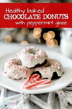 Did someone say donut? Try these baked chocolate donuts for a lightened up version of your favorite dessert. Simple Gluten free option with a yummy peppermint glaze. Perfect for MINTer: Christmas, New Years, Valentine's and beyond. Find the recipe at Parties With A Cause. #bakeddonut #glutenfree #peppermintglaze #chocolatedonut #healthydessert
