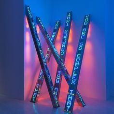 The central work from which this exhibition takes its name is Holzer's biggest to date, featuring 25 sculptural LED displays programmed to pulse in an enlightening manner, and represents an atypically showy delivery from the artist's normal minimalism...