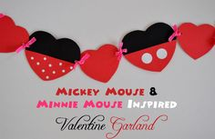 Mickey and Minnie Valentine Garland by MouseEarsMom.com - just in time for Valentine's Day!