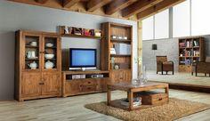 Comedor rústico de madera maciza. Madera, madera y mas madera. Living Room, Furniture, Tv Rooms, Alba, Colonial, Home Decor, Room Ideas, Country Style Furniture, Furniture Showroom