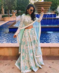 simple & elegant sky blue lengha