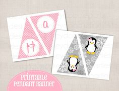 """Winter ONEderland Girly Penguin Pink & Grey Birthday Party Printable DIY Pendant Banner """"Happy Birthday"""" (add name for free)'. $10.00, via Etsy."""