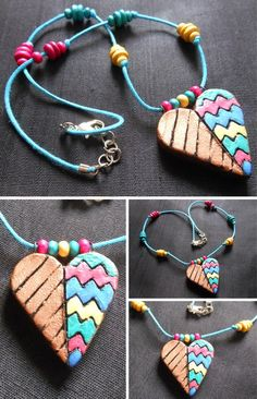 Chain with Bronze & Multi Colour Terracotta Heart Pendant and Wooden Beads
