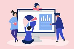 Characters of people analyzing graphs and diagrams Free Vector Flat Illustration, Free Illustrations, Site Vitrine, Best Digital Marketing Company, Mosaic Pictures, Elegant Business Cards, Site Internet, Page Design, Branding