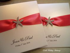 Luxury Pearlised Wedding Invitation with Crystal Starfish. Various Colour Options for Satin Ribbon. by QuillsWeddingFavours on Etsy www.quillsweddingstationery.co.uk https://www.facebook.com/pages/Quills-Wedding-Stationery/278003989009997