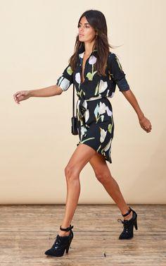 d7ae8f54cc Mini Shirt Dress In Tulip Print - Dancing Leopard - SilkFred