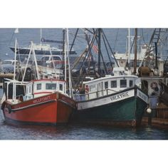 Menemsha Harbor Morning ($300) ❤ liked on Polyvore featuring home, home decor, wall art, clamshell bucket, ocean home decor, sea home decor, fishing vessels and fish wall art