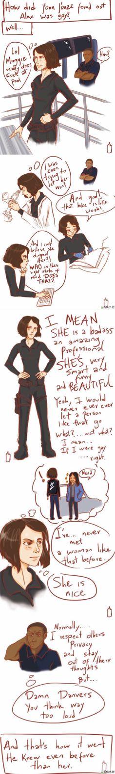 This is so canon - Alex Danvers - Maggie Sawyer - J'onn J'onzz - Sanvers - Supergirl - comic - fanart - art - doodle