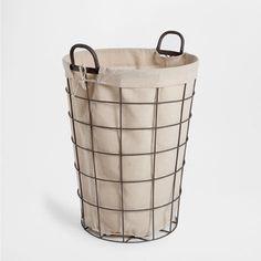 CHECKED METAL BASKET WITH HANDLE - Baskets - Bathroom   Zara Home Kuwait