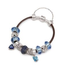 Blue Vines Leather Charm Bracelet Tuscany Collection .925 Silver – Blue & Pink Crystals 11 charms & a safety chain 925 silver bead with Heart, Butterfly and Owl motives