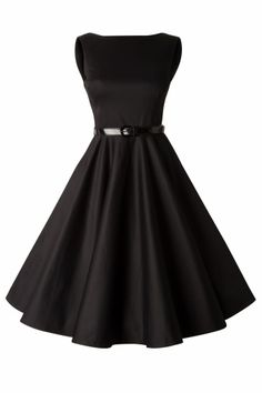 TopVintage Boutique Collection - 50s Audrey Swing Dress in Black