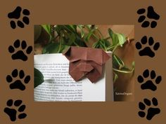 Origami ♦ Marque-page Bulldog ♦ – Origami Community : Explore the best and the most trending origami Ideas and easy origami Tutorial Origami And Kirigami, Origami Easy, Oragami, Diy Paper, Paper Art, Paper Crafts, Origami Elephant, Origami Bookmark, Dog Crafts