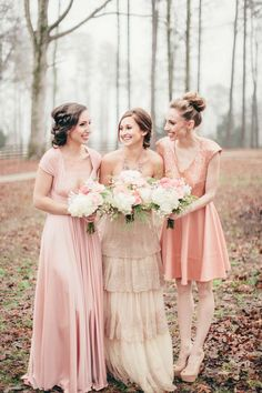 BHLDN Rosecliff wedding gown, twobirds bridesmaids, blush wedding ideas