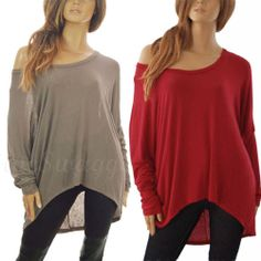 Thin Fine Knit Lagenlook Baggy Off the Shoulder Oversized Layering Jumper Top | eBay