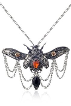 Accessorize your Steampunk look with our Atomic Silver Steampunk Beetle Necklace. Get it here: https://atomicjaneclothing.com/products/atomic-silver-steampunk-beetle-necklace