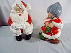 Santa Claus and Mrs Claus Ceramic Bisque Large Painted Figures #Unbranded