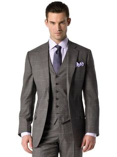 Charcoal Glen Plaid w/Purple Deco | J.Hilburn