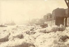 The Thames at Limehouse during the winter of 1895, known as the time of the 'Great Freeze', when normal river traffic was disrupted by a long and severe winter.