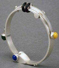 """""""Art Science Hand Cuff"""" - Heinz Brummel (silver, enamel, stone, rubber)"""
