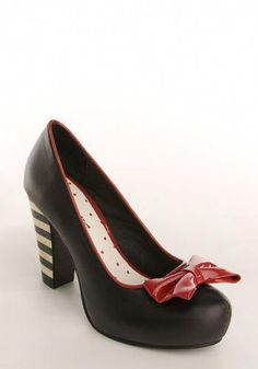 b362aa58529 Red Ribbon by Lola Ramona - Outstanding leather platform pumps with  stripped heel and a big