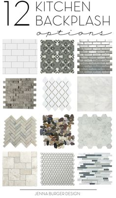 How do you choose the perfect kitchen tile backsplash? There are so many decisions. Check out this not-to-be-missed round up of 12 ideal options for the kitchen backsplash. Click over to check them out > www.JennaBurger.com