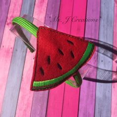 Felt Watermelon Slider Headband  Summer Fruit by MsJCreations