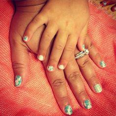 Maggie, age 3, and my matching nails!   www.Lranii.jamberrynails.net #jamberry  #nailart  #mintotobeJN  #destinyJN  #mintgreenchevronJN