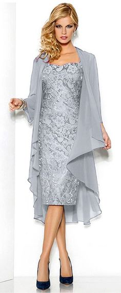 Fabulous Lace Sweetheart Neckline Knee-length Sheath Mother Of The Bride Dress With Detachable Coat