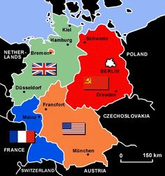 Map of a divided germany after wwii my husbands relatives were in germany after world war ii germany map postwar wwii coldwar gumiabroncs Image collections