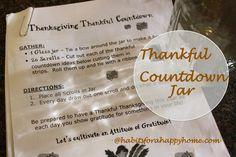 Thanksgiving Thankful Countdown Jar