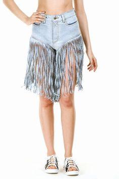 Denim hula skirt? Nope they're Jeremy Scott's fringe jean shorts that'll set you back $405 (or, a bargain-basement flight to Hawaii!)