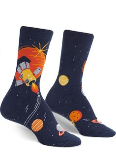 Men's//Boys Black With Planets Solar System Space Cotton Ankle Socks