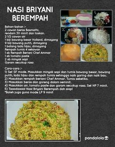Nssi briyani Spicy Dishes, Savoury Dishes, Food Dishes, Malaysian Food, Malaysian Recipes, Malay Food, Indonesian Cuisine, Pressure Cooker Recipes, Food Pictures