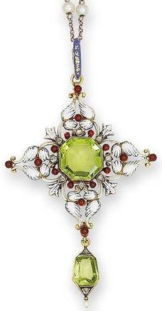 A late 19th century peridot, enamel and diamond pendant, by Carlo Giuliano, circa 1880