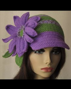 Purple and Green Stripe Crochet Skullcap ♡ by AnitaDesignWithHeart
