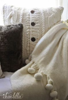 Adding Some Cozy Winter Elements  - winter pillows and throws