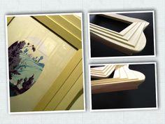 Cornice 'Ali di farfalla' contenente antico Pochoir francese