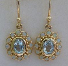 Antique Topaz Earrings, Vintage Gold Topaz Earrings 9ct 9k 10k Opal Drop, E8, Ladies french drop wire, Womens, Victorian, Solid earrings