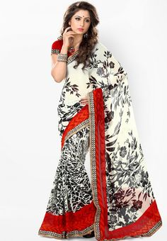 Red Printed Saree